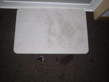 珪藻土バスマットとコルクの床材が濡れている画像