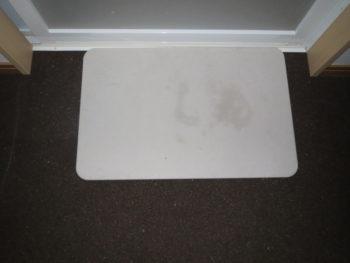 濡れた珪藻土バスマットとコルクの床材が30分経った時の画像