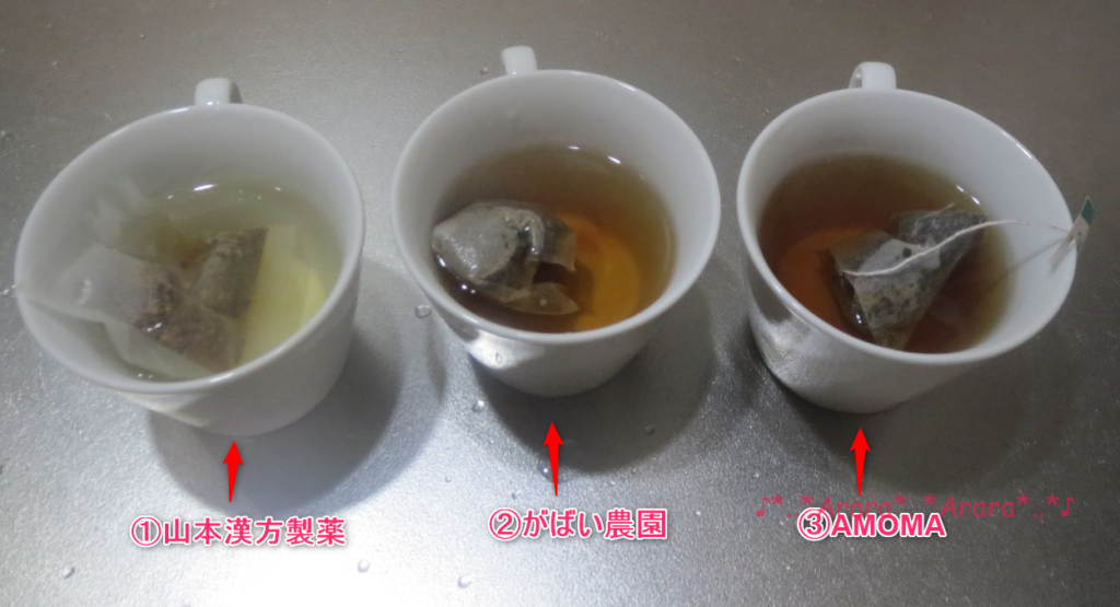 3種類のたんぽぽコーヒにお湯を注ぐ画像
