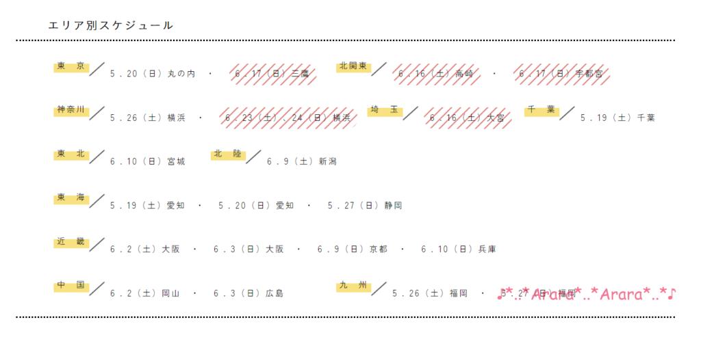 中村鞄ランドセル展示会スケジュール表
