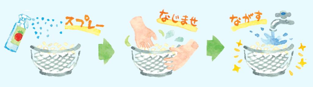 ベジセーフでお米を洗う方法画像