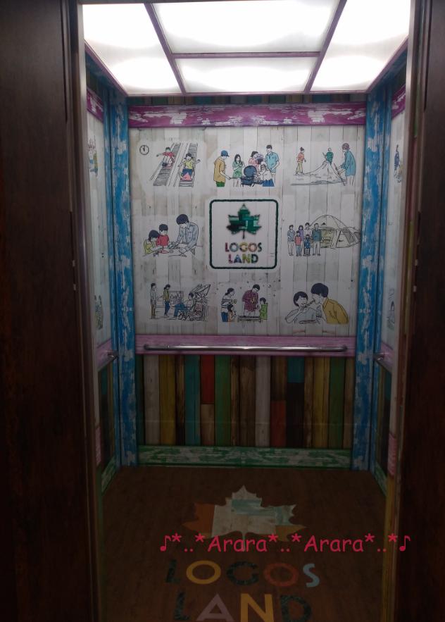 ロゴスランドのエレベーターの内観の写真