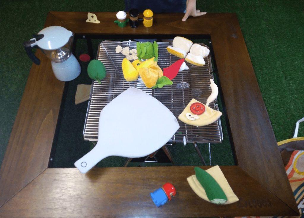 ロゴスカフェのキッズスペースのBBQのおもちゃ